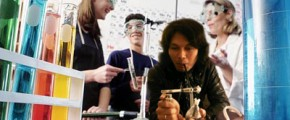 Enjoying chemistry lab December 2001